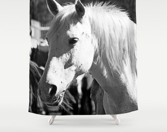 Horse Shower Curtain Black White Decor Manly Gift Gifts Lover Equestrian