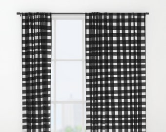 Gingham Curtains Black And White Window Plaid Decor Home Checkered