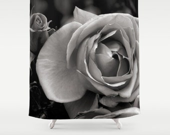 Rose Shower Curtain Black And White Bath Floral Gifts