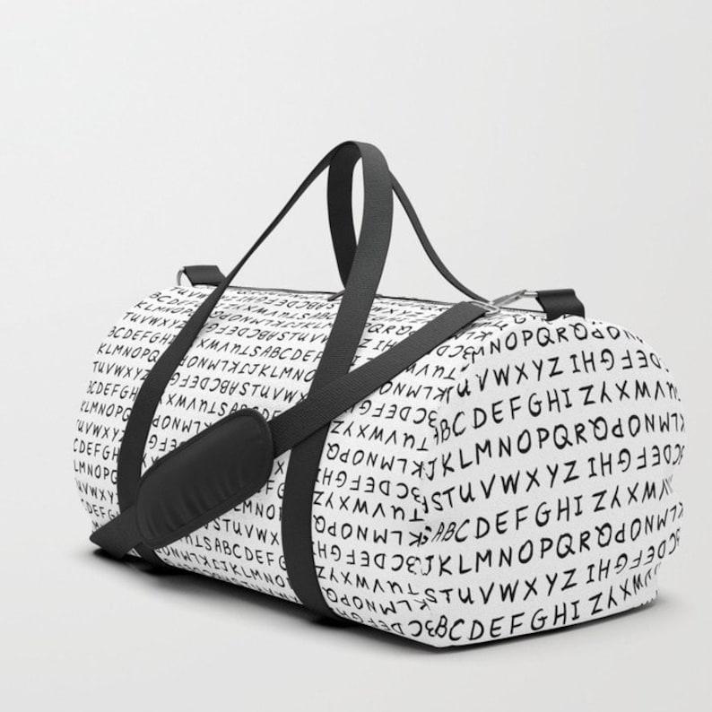 c104ae2a7e ABC on White Duffle Bag Duffle Bag Men Duffle Bag Women