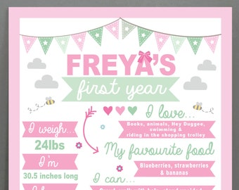 Personalised first year print | Baby | 1st birthday | gift | custom | bespoke |