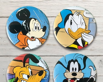 Mickey Mouse Fridge Magnets made from pre-loved book . Mickey Mouse . Donald Duck . Pluto . Goofy . 45mm . Set of Four