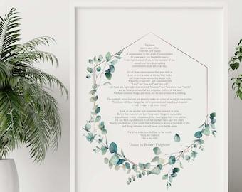 Union By Robert Fulghum - Wedding poem wall art  - Love Poem UNFRAMED - Full Poem