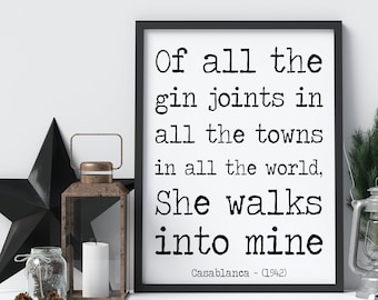 casablanca gin print gift wall art picture home decor poster quote