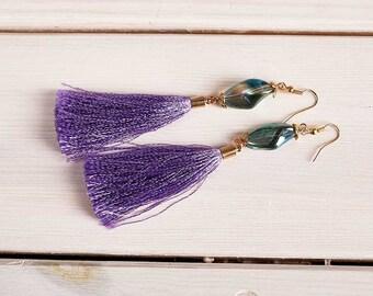 """bohemian earrings tassels violet glass """"starfall"""""""