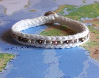 Ecru and Mixed Metals Bracelet-Crochet Bracelet-Jewelry-Beaded Bracelet