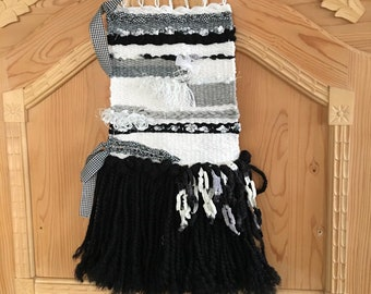 Tapestry, weaving, black, white, handmade, woven wall hanging, handmade