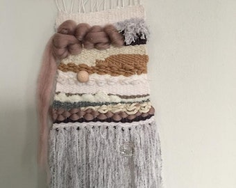 Tapestry, weaving, black, white, handmade, woven wall hanging, handmade, pink, nature