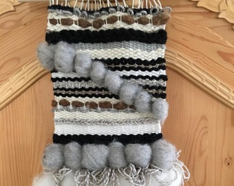 Tapestry, weaving, black, white, gray, handmade, woven wall hanging, handmade