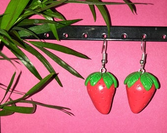 Little red strawberry clay earrings