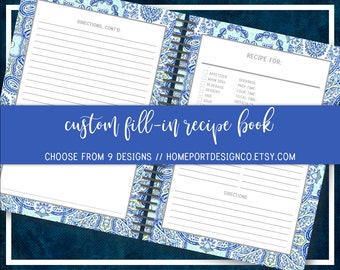 personalized recipe book etsy