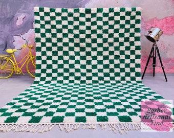 CUSTOM Large Moroccan Green Checkered area rug  - Beni ourain rug  -  berber carpet - FREE SHIPPING