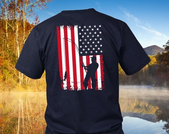 7293ab870 Fathers Day Fishing Gift for Dad   American Flag Fishing Men's T Shirt  >Design on Back< Patriotic Fishing Gifts for Men