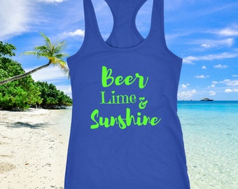 658e84453 Cruise Shirts Beer Lime & Sunshine Womens Summer Tank Top and Outdoors  Patio Party Top in Sunshine Apparel For Drinking Corona Probably