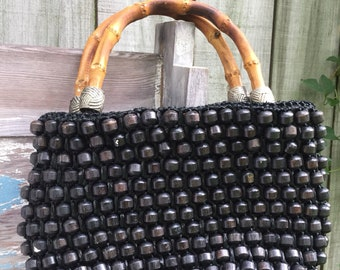 d38ad9b61 60s Bead Purse, Vintage 1960s Handbag, Dark brown Wood Beads, Woven Raffia, Bamboo  Handle, Retro Handbag, Mid Century, Jana Made in Japan