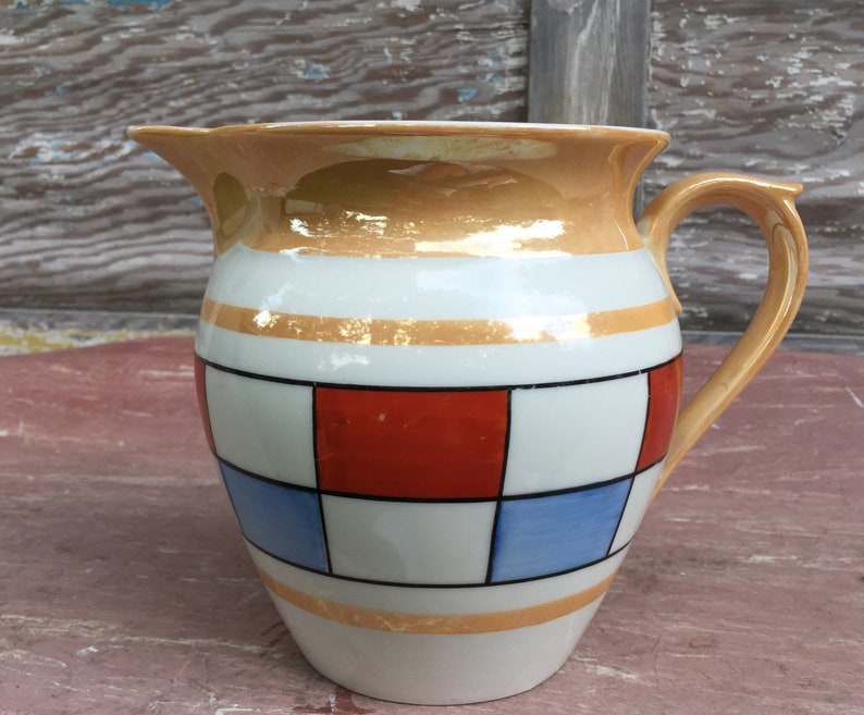 Vintage Antique Art Deco Czechoslovakia Carafe Vivid And Great In Style Bohemian/czech