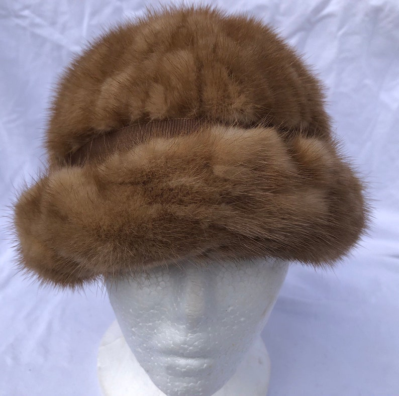 Fur Hat by JAMI 1960/'s Pillbox Medium Brown Fur Grosgrain Ribbon Trim Great Condition Vintage