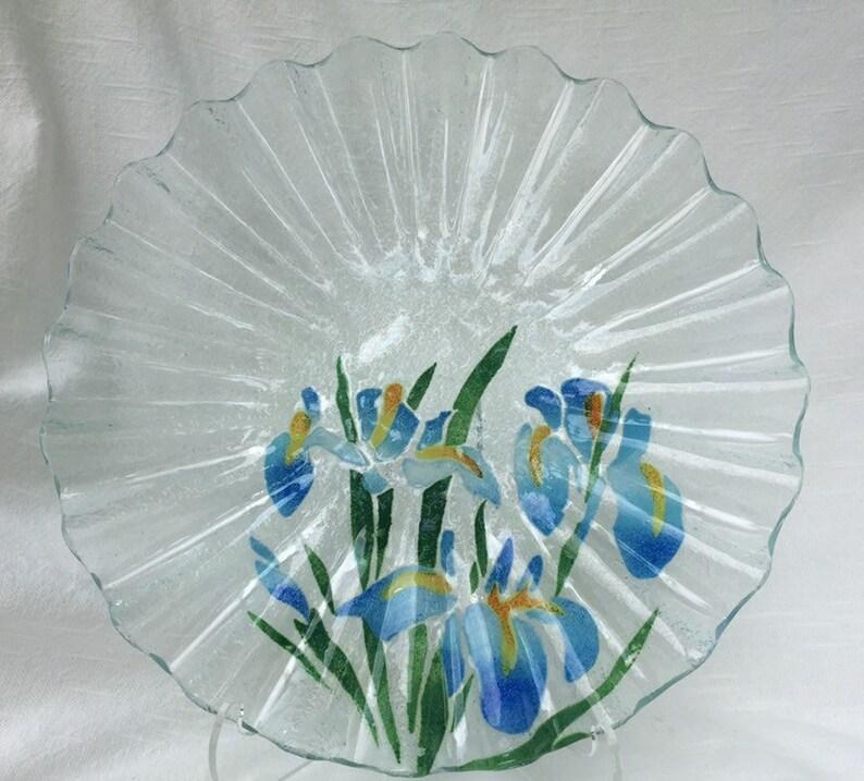 SYDENSTRICKER Art glass platter. Blue Iris. Fluted edges. image 0