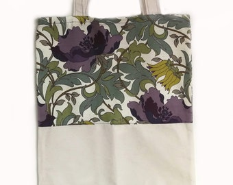Two Tone William Morris and Canvas Tote bag for shopping