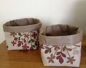 Set of 2 Storage Buckets Floral Burst Natural