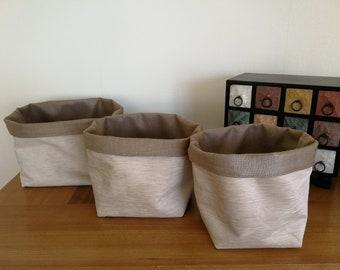 3 Fabric Storage Bucket Chenille Natural Gift Basket