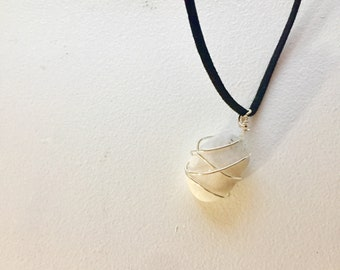 """rock wire necklace 17"""", wire pendant necklace, wire wrapped necklace 17"""""""
