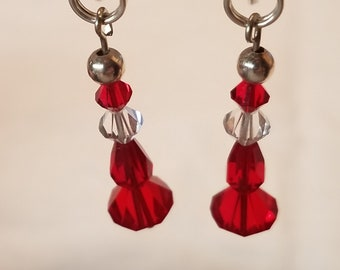 Austrian Crystal earrings W/Vintage Beads