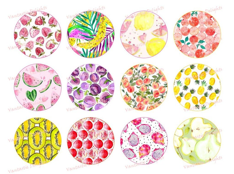 Cupcake Toppers PRINTABLE Watercolor Fruit Pdf DIGITAL DOWNLOAD 2 inches Refreshing Summer
