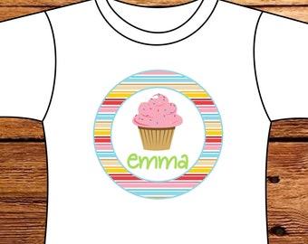 Personalized Birthday Cupcake Tshirt