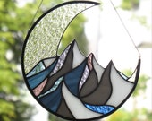 Mountains stained glass window hangings suncatcher Mothers Day Gift