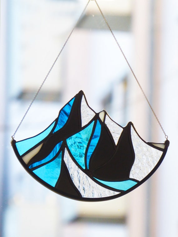 Stained Glass Mountain Suncatcher