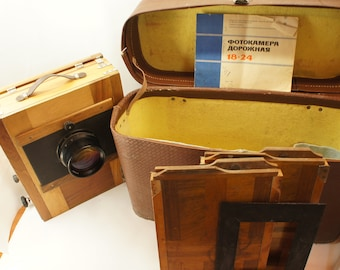 Vintage FKD18x24 wooden large format camera, Industar-37 4.5/300mm,case,2 casset