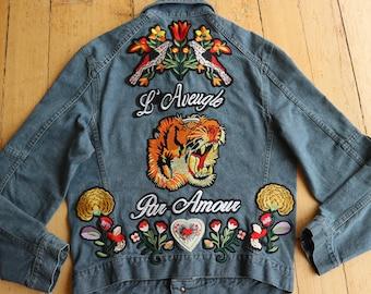 ddf6ccd3e2800 Gucci Inspired Zara Men Woman Denim Jacket Medium