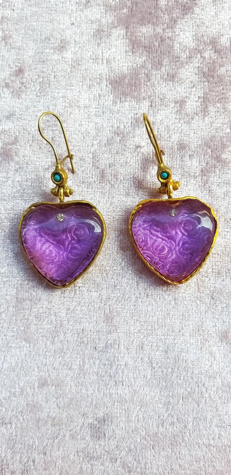Amethyst hand engraved golden earrings ottoman design