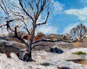 Winter Scene with Trees, Great Lawn at Central Park, NYC Print of Painting