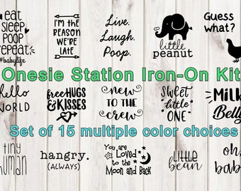 Onesie® Station Iron-On Kit, 15 iron ons, Bodysuit decals, Baby Shower decals, Iron-On, Custom Colors PLEASE read how to order it as singles