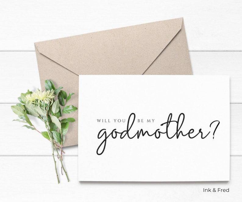 Baptism Gift Godparent Asking Card God Parent Card God Mother Proposal Card Christening Gift Simple Will You Be My Godmother Card
