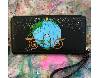 Hand painted Cinderella inspired Carriage large purse