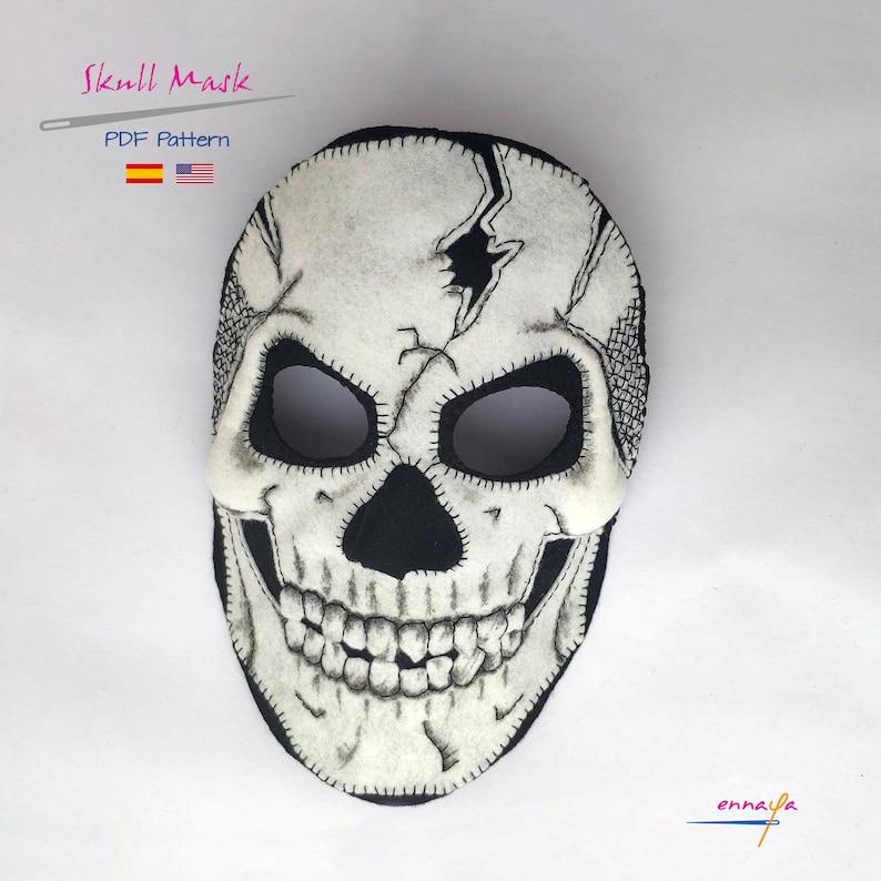 Patr\u00f3n m\u00e1scara calavera M\u00e1scara de fieltro PDF patr\u00f3n de costura Day of the Dead PDF Skull Mask PDF Sewing Pattern Halloween
