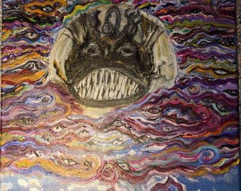 Angler Fish in Clouds, 10x10 Canvas