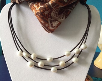 Floating Pearls on Leather Necklace