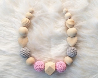 Breastfeeding and Babywearing pink and gray necklace