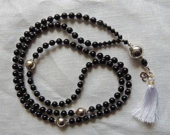 108 bead mala necklace /  Buddhist Prayer Beads / Wrist Mala / Black Obsidian chakra necklace / bracelet for followers of  Buddhism