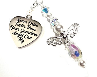 LQRI Guardian Angel Car Charm Drive Safe Gift Drive Careful Be Safe Know You are Loved Rearview Mirror Car Ornament Interior Accessories Car Mirror Charms New Driver Gift
