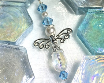 March Birthstone Aquamarine Guardian Angel Car Charm - Rear View Mirror Charm - Protection Charm - Window Sun Catcher