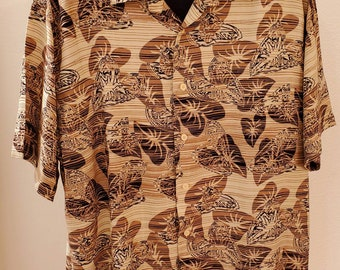 0fe51125 Cubavera shirt Large Lg men various shades of brown Hawaiian design 100%  rayon excellent condition vibrant color quality materials