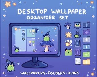 Wizard Frog Computer Desktop Theme Background Wallpaper Organizer Set