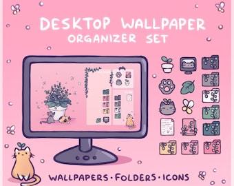 Cat Plant Computer Desktop Theme Background Wallpaper Organizer Set