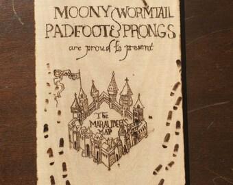 Harry Potter Burnt Wood Marauder's Map