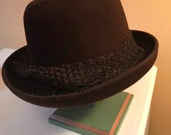 338b0e772cc Vintage Hat Wool Geo. W. Bollman Co. Doeskin Felt Brown Fedora